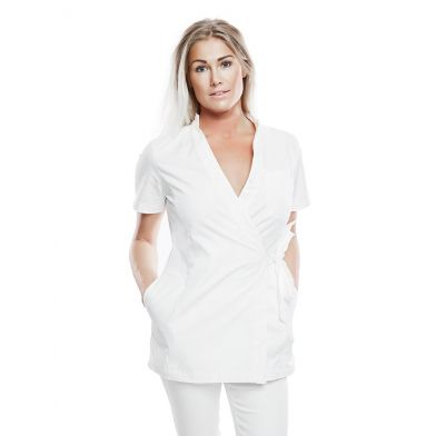 WAW Ladies Wrap Top Natural White