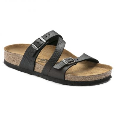 Birkenstock Salina Narrow Oiled Leather Black Sandal